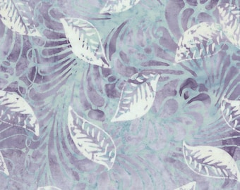 Lavender Leaves Tonga Batik Fabric - Timeless Treasures - B4390 - Petals