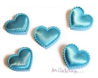 Set of 10 hearts blue satin embellishment scrapbooking (ref.310) fabric *.