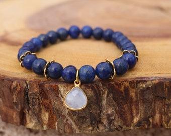 Lapis and Moonstone beaded bracelet