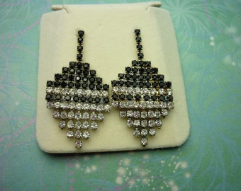 Vintage Crystal Earrings - Jet Black Crystals