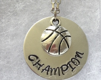 Basketball necklace, handstamped necklace, basketball charm, charm necklace, sport necklace