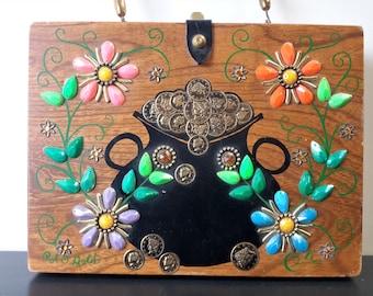 Authentic Enid Collins Box Purse Pot O Gold 1960's Mod Jeweled Folk Art Purse