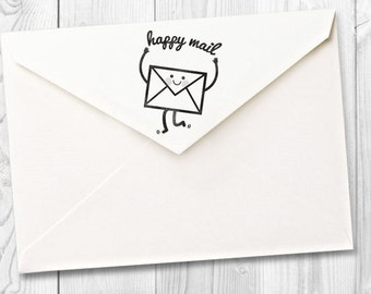 happy mail rubber stamp - FREE SHIPPING WORLDWIDE*