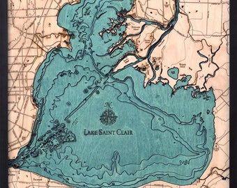 Lake St. Clair Wood Carved Topographic Depth Chart / Map