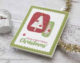 Handmade Christmas Card. Holiday Card. Christmas trees. Season's Greetings