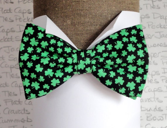 Bow Tie, green clover on black, shamrock bow tie, bow ties for men, pre tied or self tie bow tie