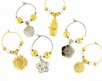 Flowers Drink Charms, Wine Glass Charms