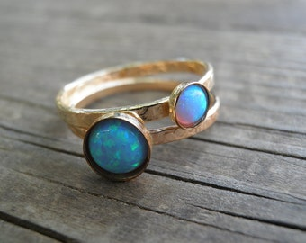 Opal Ring, Statement Ring, Gold Stackable Ring, Statement Gemstone Ring, Stacking Rings, Stackable, Opal Jewelry, Turquoise Ring, Opal Rings