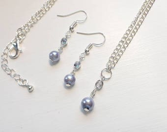 Pearl necklace and earring set - Lilac