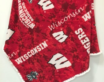 Fleece Blanket Baby Toddler Wisconsin Badgers with Chenille Crochet Handmade