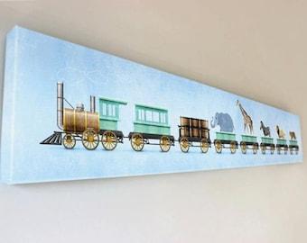 Zoo Train Animal Wall Art Room Decor Print for Nursey or Big Kid Boy or Girl