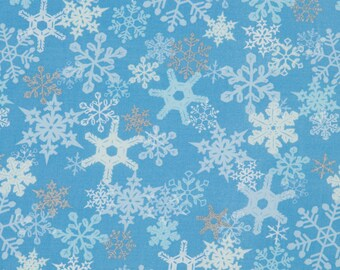 Sharyn Sowell OOP Christmas Fabric for Robert Kaufman - Silhouette  Collection Holiday - Metallic Silver Snowflakes on Ice Blue - One Yard