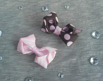 Girls Animal Print Hair Clips - Set of 2 - Pink Zebra & Brown Polka Dot