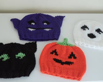 Halloween Hat - Knit Hat - Pumpkin Hat - Kids knit hat - Toddler Hat - Orange Hat - Beanie - Halloween Costume - Fall Festival - Hat for Bab