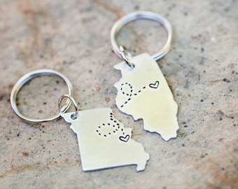 BEST FRIEND KEYCHAIN, Long Distance State Keychains, Best Friend Gift- Set of Two State Map Keychains, Going Away Gift