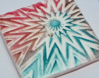 Large Square Button White Green Red Handmade Polymer Clay 40mm