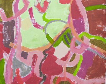 Watermelon and Lime. Original abstract painting, pinks and greens, whimsical modern art.