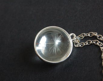 Silver tone dandelion dome necklace