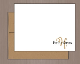 Personalized Note Card Set, Flat Note Cards, Personalized Stationery, Personalized Stationary, Mr. and Mrs., Thank You Cards, Wedding Gift