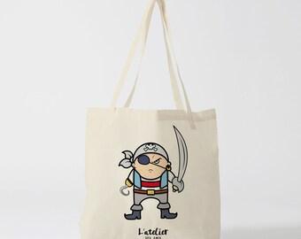 Tote bag child pirate, bag, shopping bag, handbag, diaper bag, bag races, current bag, bag for child.