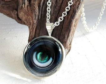 Eye Necklace, Cabochon Necklace, Cabochon Jewelry, Glass Dome Pendant, Photo Jewelry, Eye Pendant, Glass Cabochon, Gift