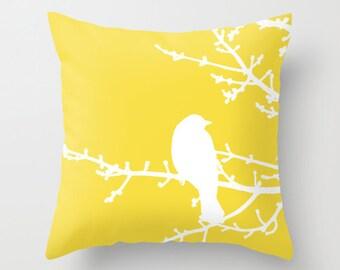 Bird on Twig Pillow  - Yellow - Modern Home Decor - By Aldari Home