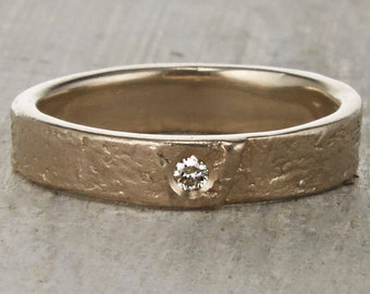 CLEARANCE Diamond Birch Bark Wedding Ring - Nature Inspired Birch Ring with Diamond in 14K White Gold