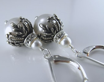 The Sofia Earrings - Vintage Style Ornate Bead Caps, Swarovski Crystal Pearls, Sterling Silver