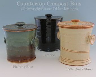 Countertop Compost Bin Recycle Garbage Kitchen Scraps Coffee Grinds - 12 cups - Functional Kitchen Pottery Handmade Gift for Gardener Cook