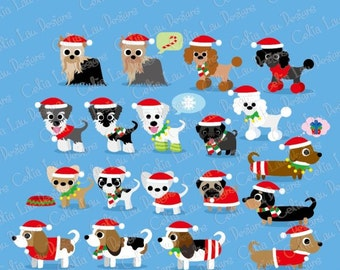 Christmas Dog Clipart, Puppy Clipart , cute dogs clip art, puppy clipart, (cg098) / Christmas clipart / INSTANT DOWNLOAD