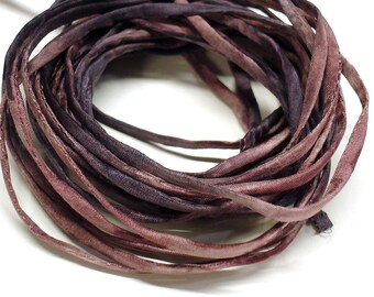 """5PC. HEIRLOOM 2MM Hand Dyed Silk Jewelry Cord//5PC Hand Dyed Silk Cording 1/8"""" X 36""""//Hand Dyed Silk Jewelry Bracelet/Necklace Cording"""