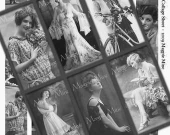 Glamorous Women Collage Sheet - 30 Black and White Images - 1 x 2 Inches - Instant Download - Printable