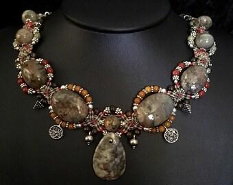 OOAK Stunning Coprolite - Dinosaur Dung - Woven Necklace