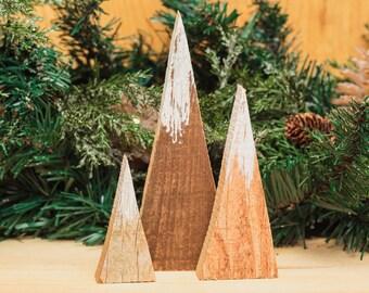 Modern Farmhouse Rustic Wood Mountains Triangle Repurposed Pallet Snowcapped Minimalist Holiday Decor Mantel Christmas Decoration