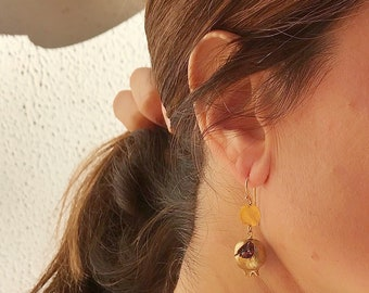 Earrings with pomegranate charm