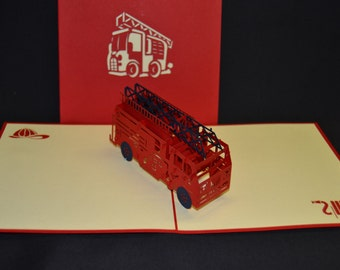 Fire Truck 3-d pop up card