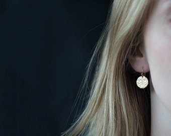 Dangle Earrings Gold Minimalist | Handmade Jewelry | Gold Filled Earrings Dangle | Minimalist Earrings Handmade Hammered Disc