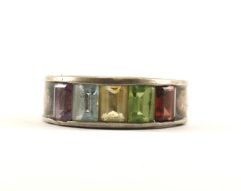 Vintage Multi Color Emerald Cut Crystals Inlay Band Ring 925 Sterling Silver RG 839
