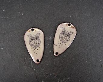 charms, charms copper enamelled (hot) owls enamel copper connectors
