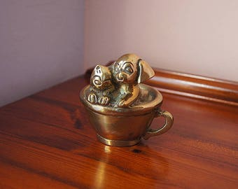 Vintage Brass Dog & Cat Figures In The Tea Cup.