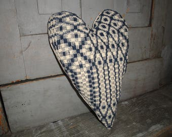 LARGE Old Blue Coverlet Heart | Heart Fabric Stuffed | Vintage Coverlet Heart | Antique Coverlet Heart | Primitive Heart | Blue Heart