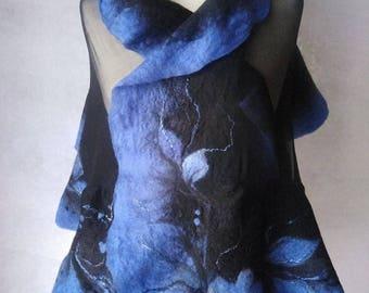 Nuno Felted scarf felted shawl felt scarf merino wool silk felting GersimiFelt