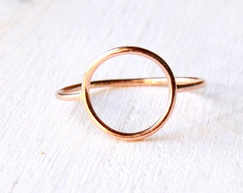 Open Circle ring in solid 14k ROSE gold, halo pink gold ring, Open circle gold ring, solid gold Eternity ring / Karma ring handmade