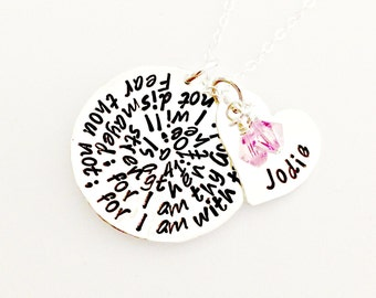 Personalized Bible Verse Necklace, Heart Name Disc & Swarovski Birthstone Crystal - Custom Hand Stamped Sterling Discs with Verse or Phrase