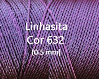 Linhasita Black Cherry  (0.5 mm) Cor 632, Waxed Polyester Macrame Cord/ Beading/ Spool