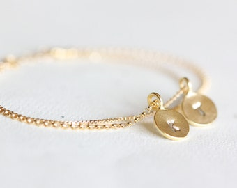 Personalized Layered Initial Bracelet - double layer personalized initials, hand stamped monograms