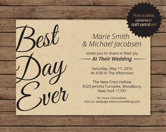 Best Day Ever Template, Best Day Ever Printable and Digital, Wedding Printable Invitation, Rustic Wedding, PDF Wedding Invitation.