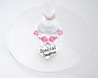 Daughter Wine Glass Charm, Swarovski Crystal, Special Daughter Birthday Gift, Daughter Thank You Gift, Daughter Gift, Daughter Celebration