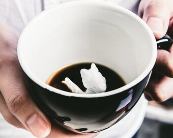 Dragon Mug by CREATURE CUPS | Hidden Animal Inside | Handmade Black Ceramic Mug | Holiday and Birthday Gift for Coffee & Tea Loversu