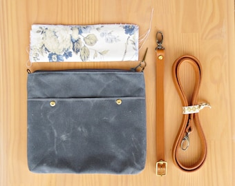 Handmade Waxed Canvas Clutch Purse in Grey with Vintage Style Floral Lining, Choose Your Leather Strap Length and Hardware Finish, Crossbody